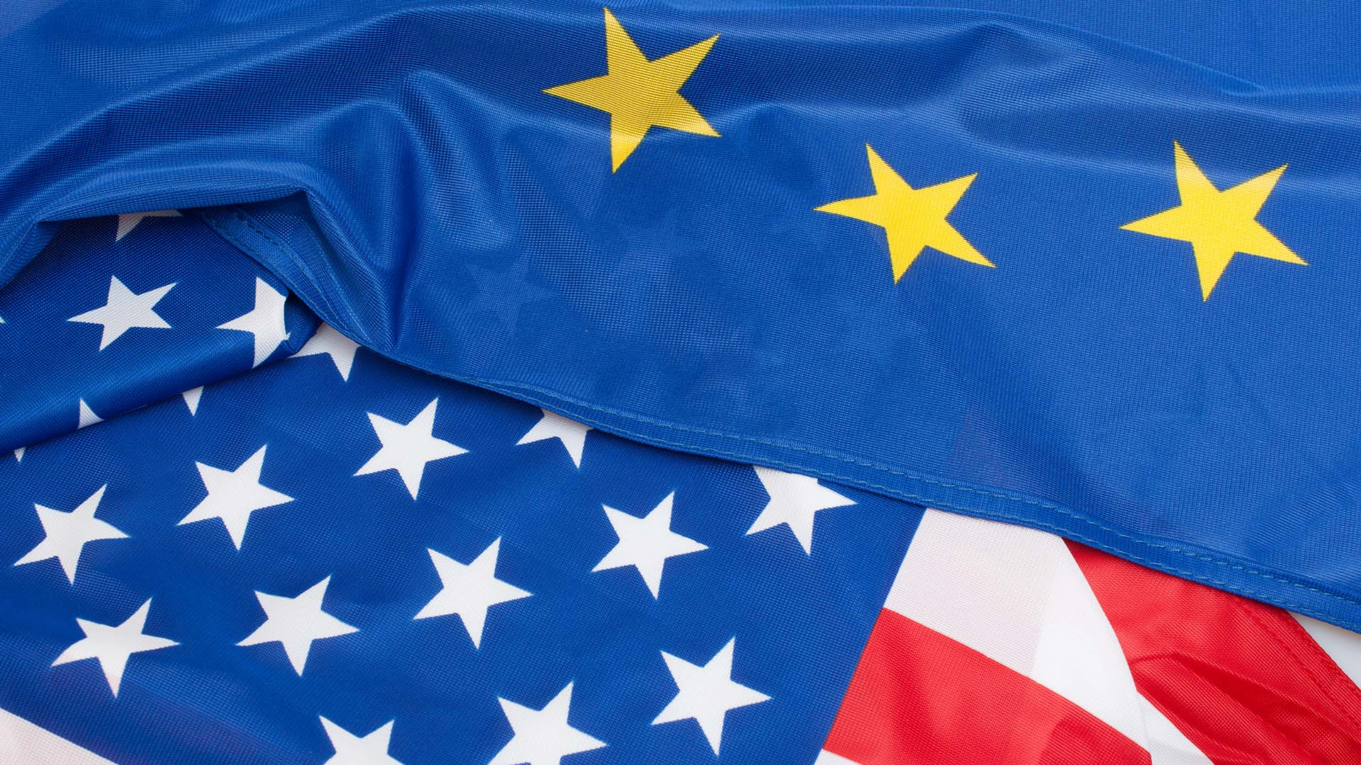 Overlay of the European Union and United States flags