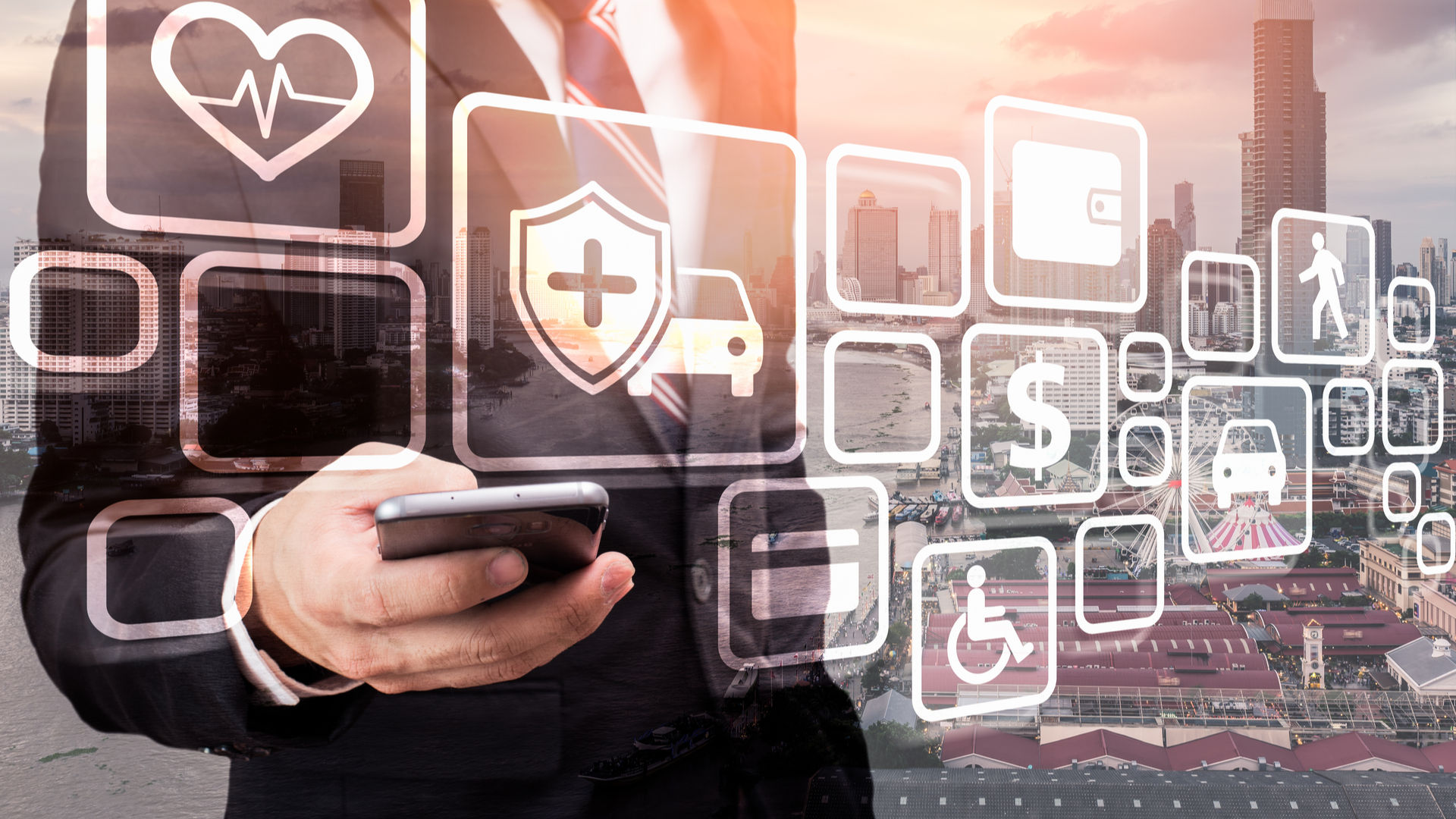 mobile phone with insurance icons