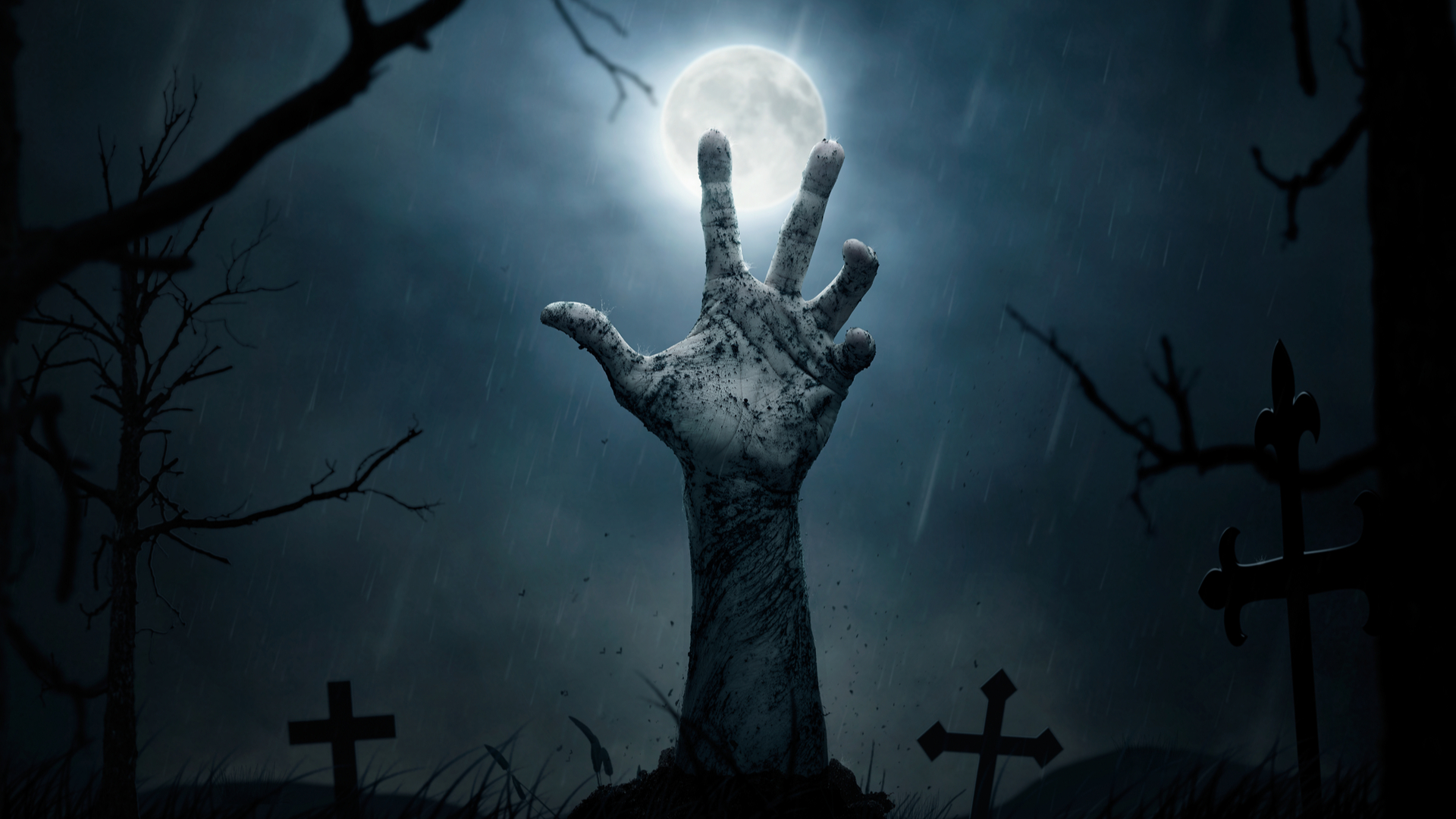 Zombie hand revived from cemetary