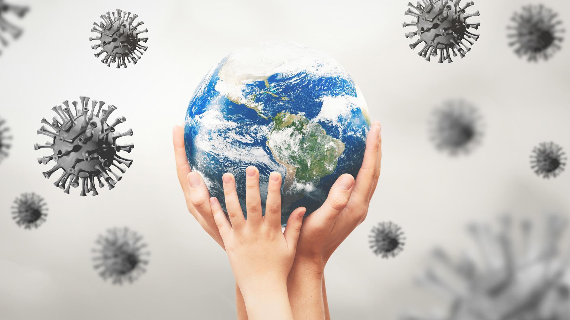 Viruses around the earth globe, world pandemic