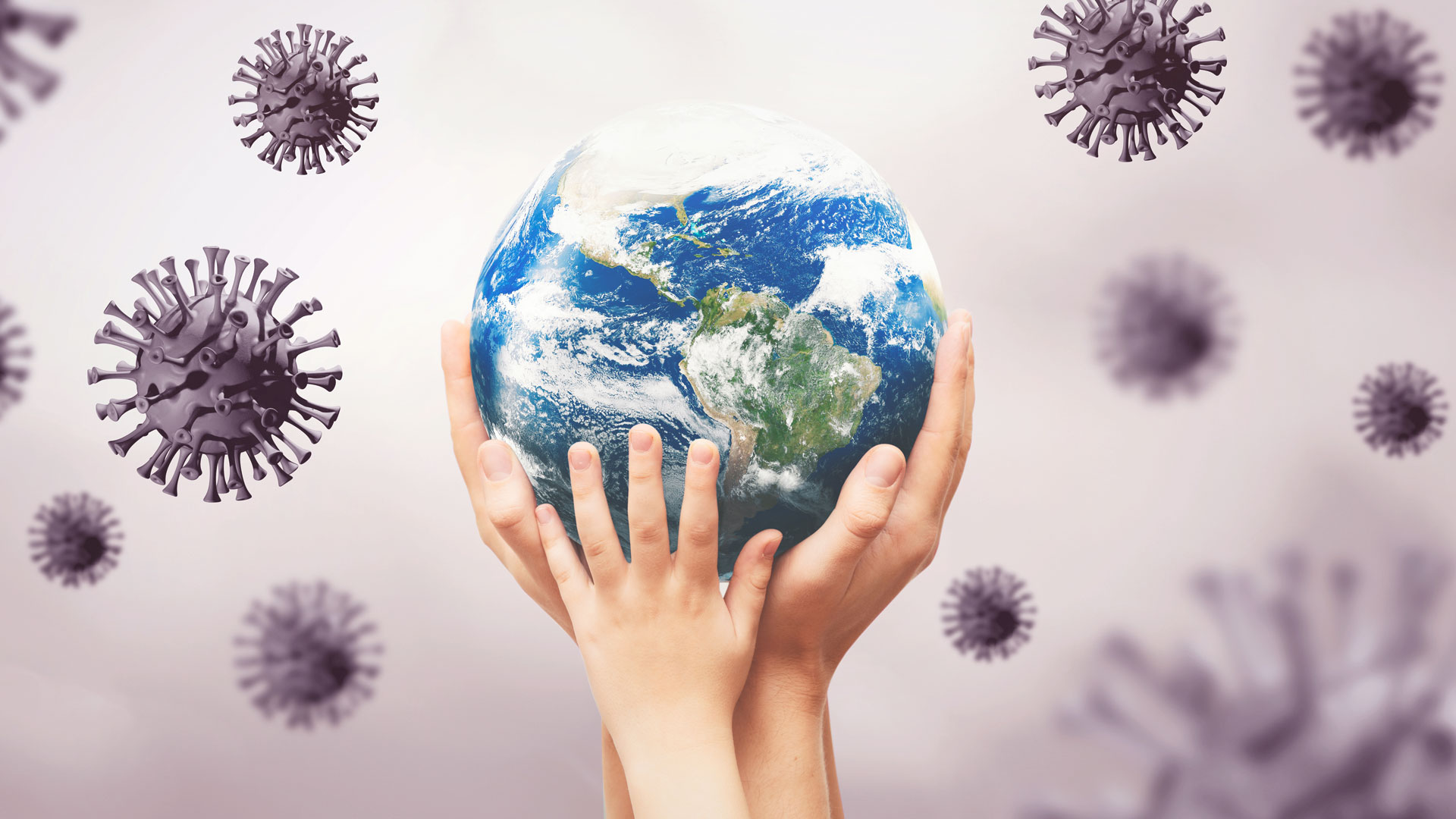 Viruses around the earth globe, world pandemic