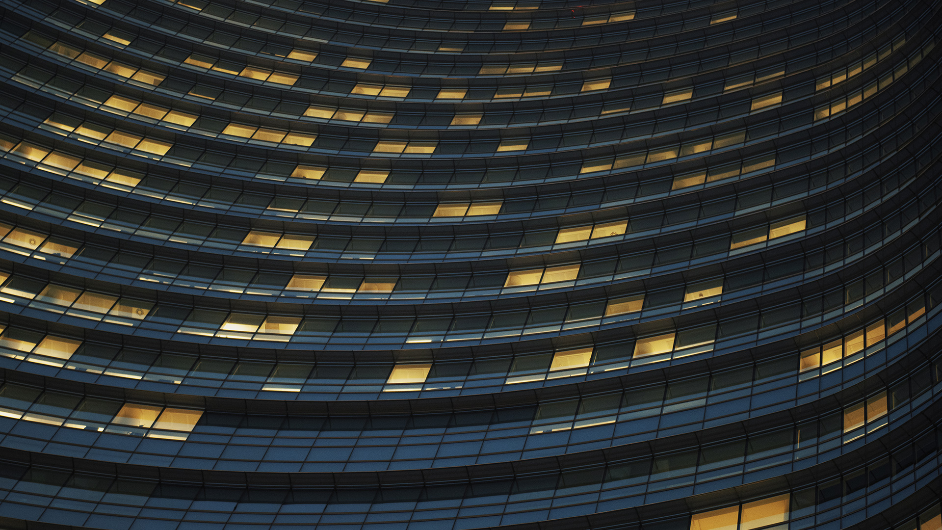 office building with yellow lights