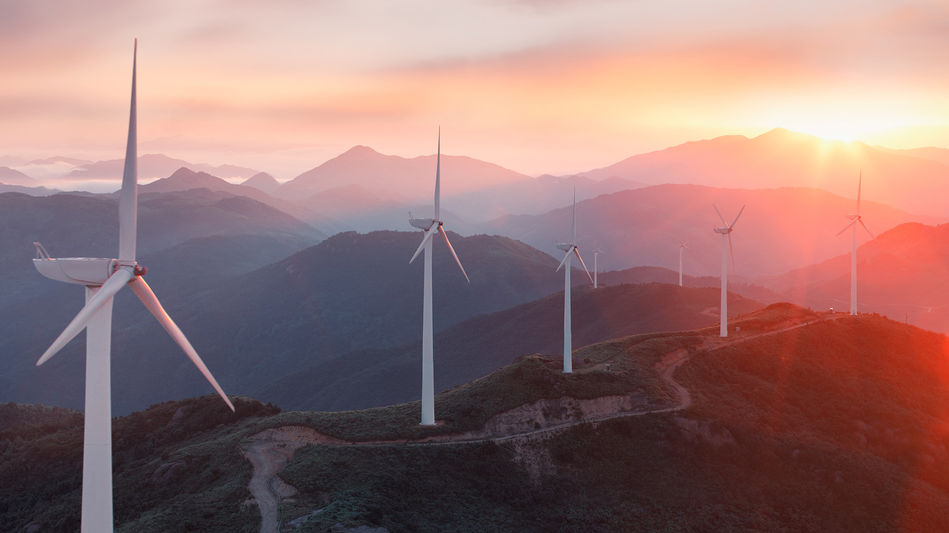 Wind turbines on mountains