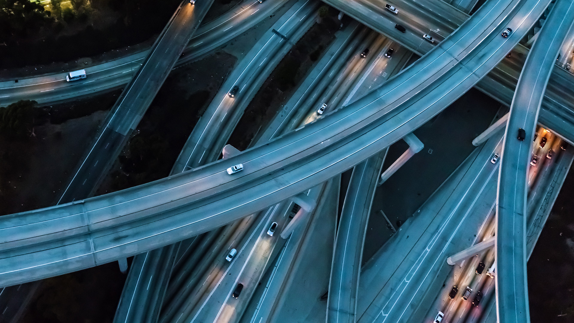 Aerial view of a massive highway at night