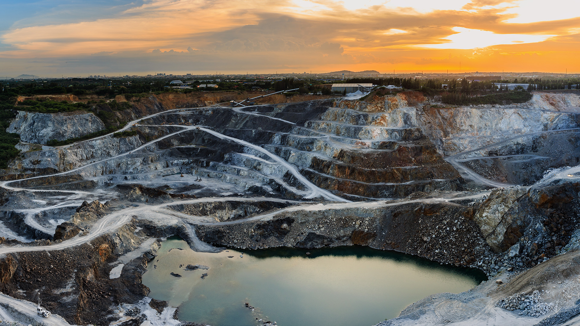 Panoramic view of a quarry during sunset