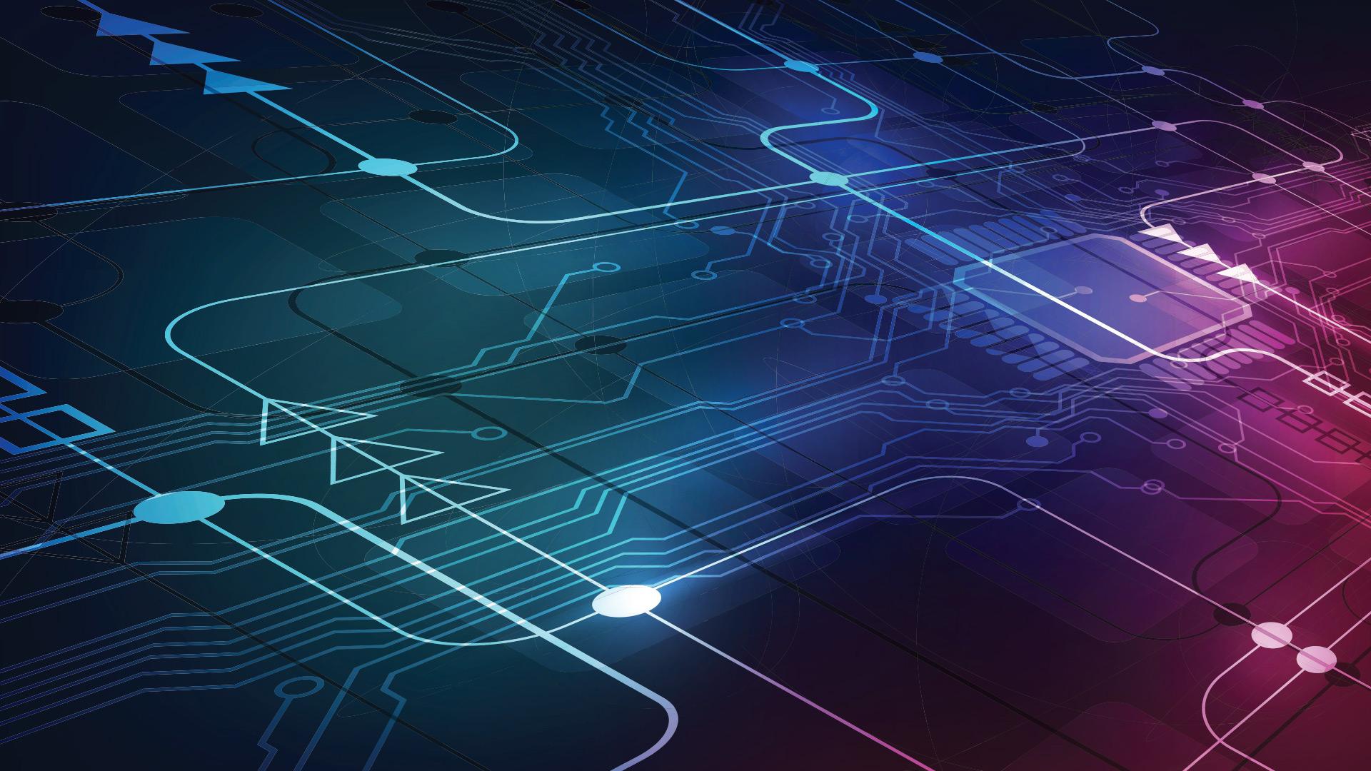 Carte de circuit imprimé sur lequel sont superposées des flèches directionnelles