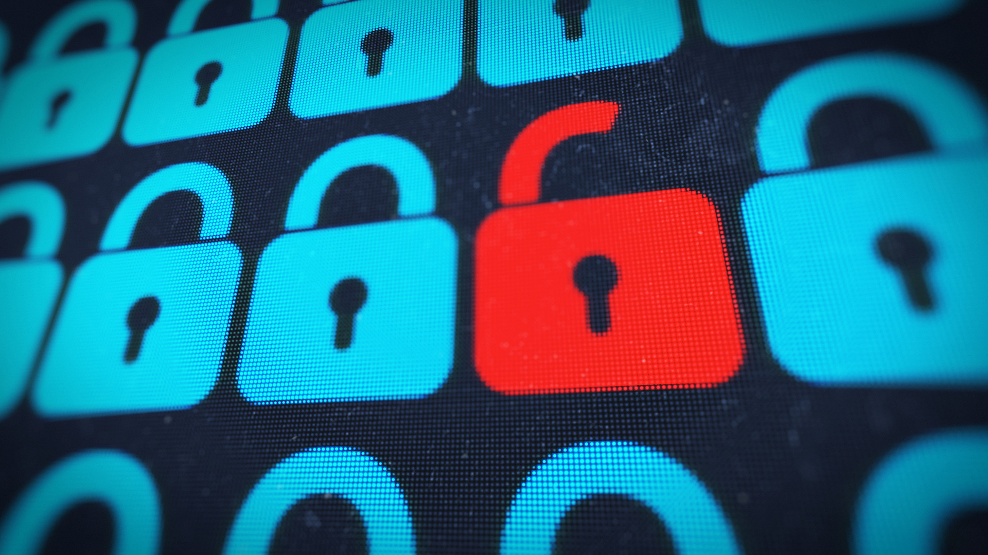 Computer screen with a row of blue lock icons, middle lock icon is red and unlocked
