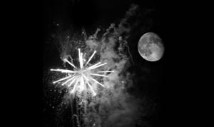 Black and white fireworks