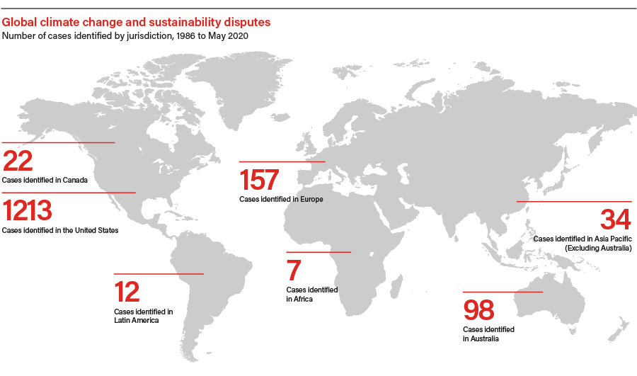 Climate change and sustainability disputes risk map