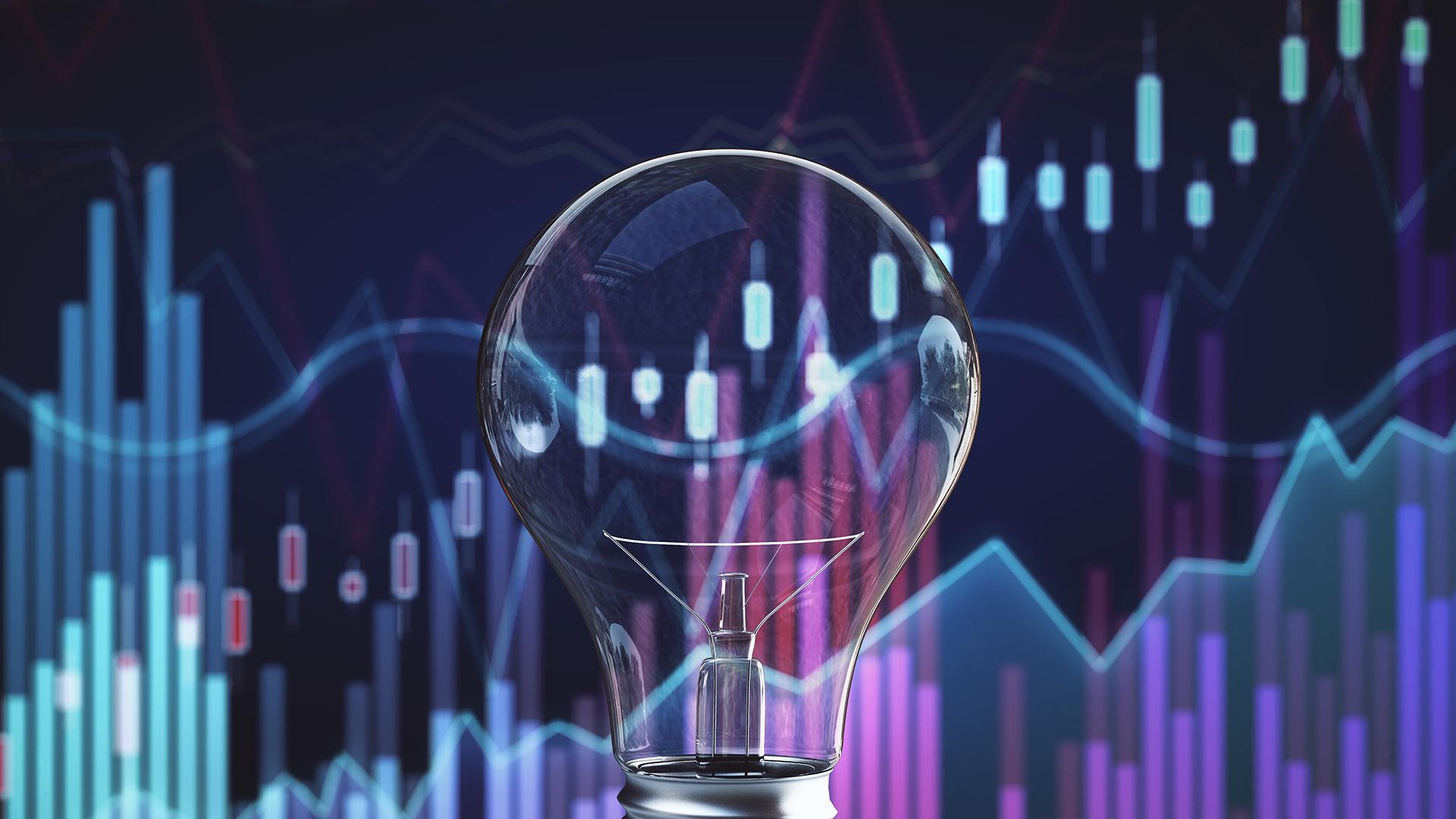 Digital charts with lightbulb