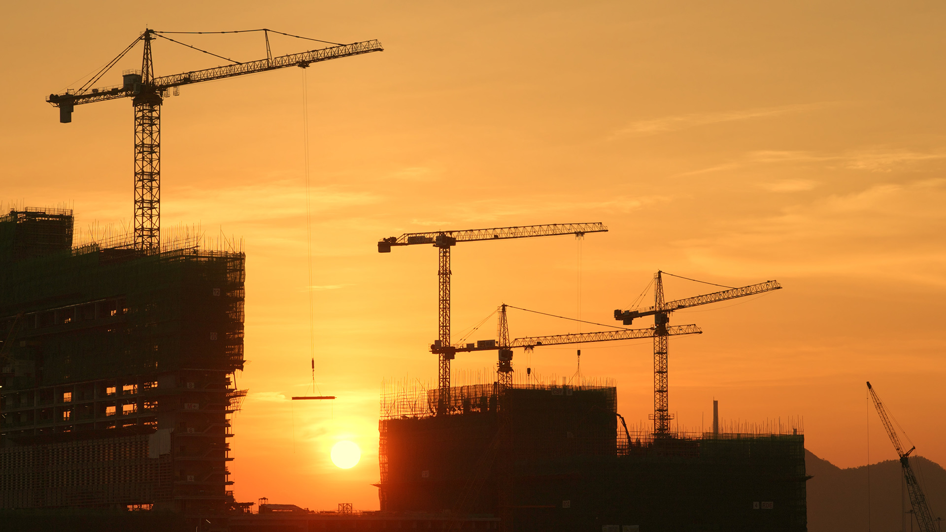Construction site at dusk