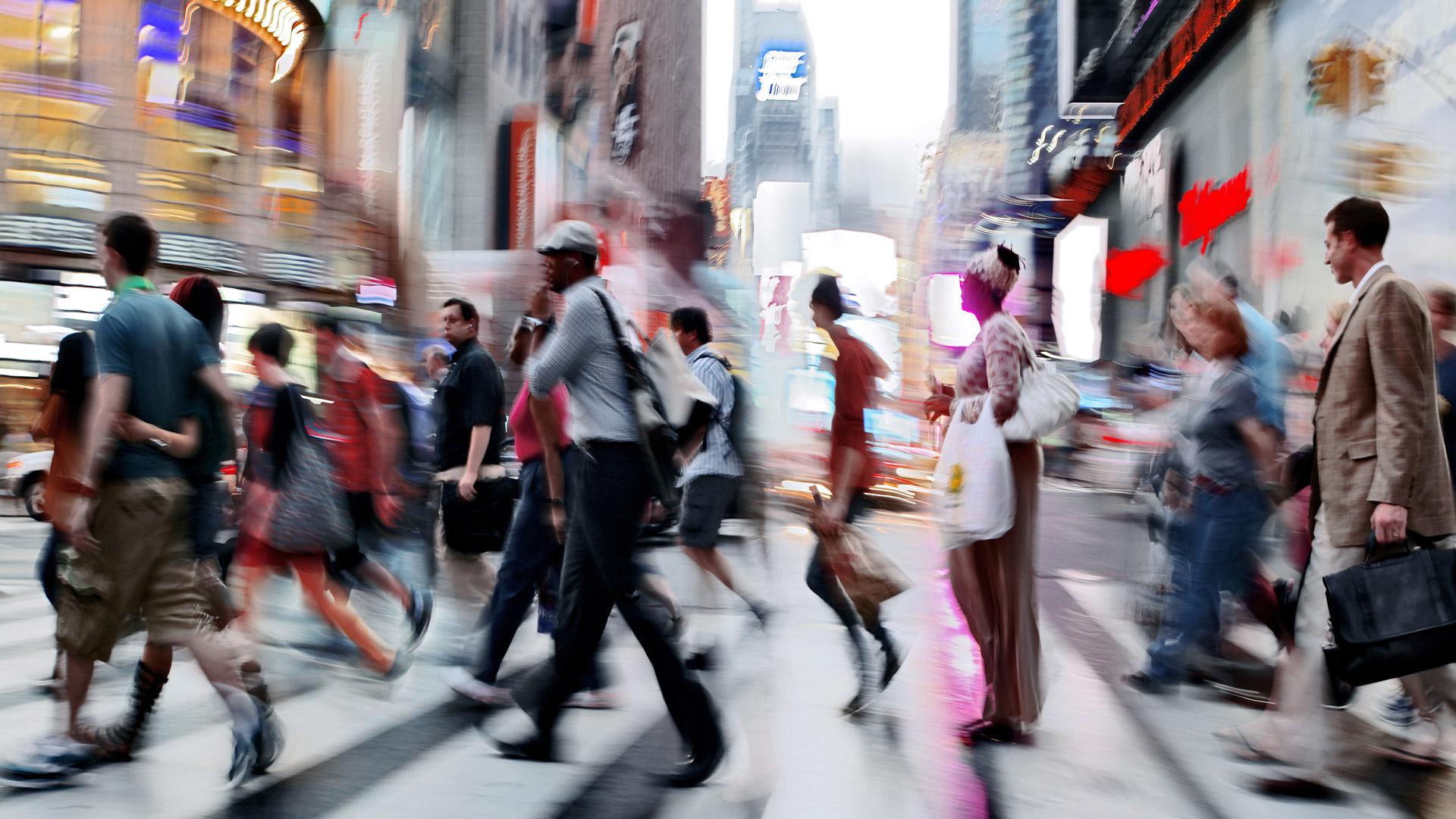 Crowd crossing street