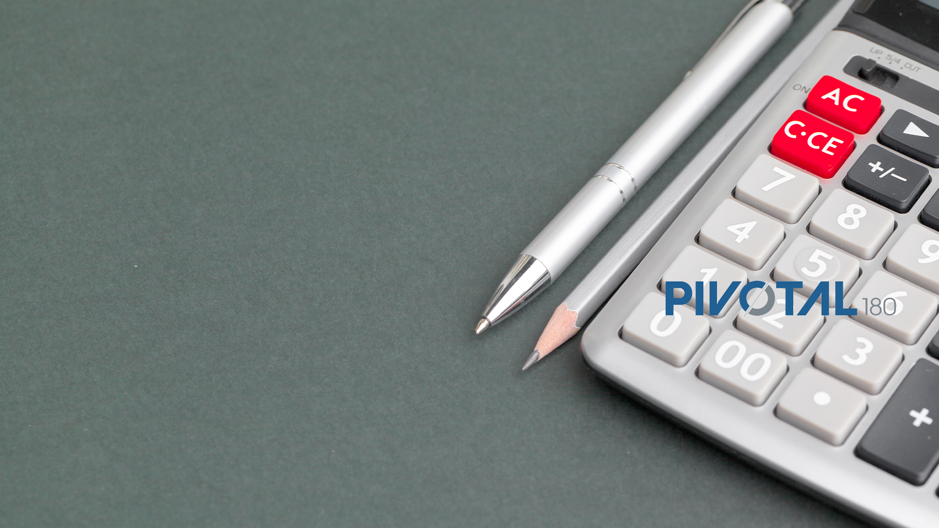 pen, pencil, calculator and Pivotal180 logo