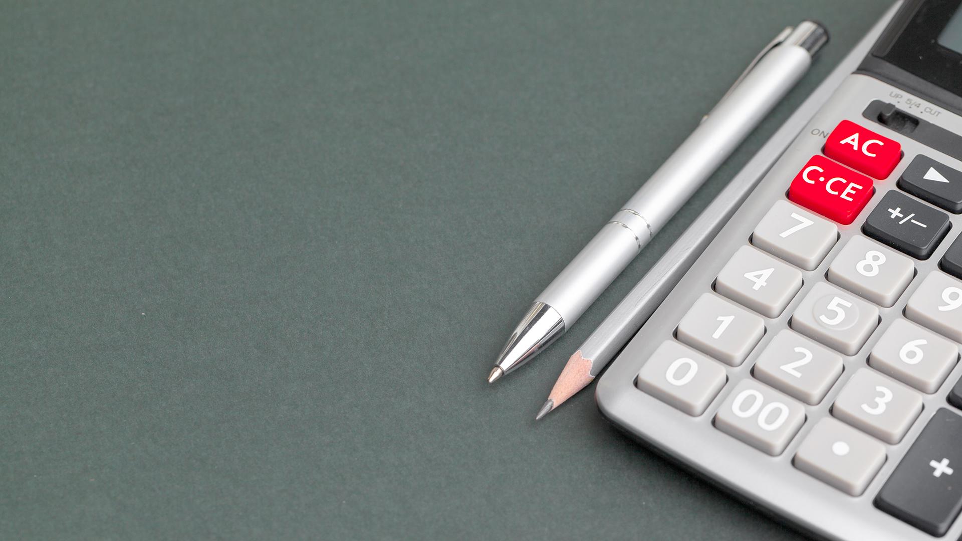 Pen, pencil and calculator