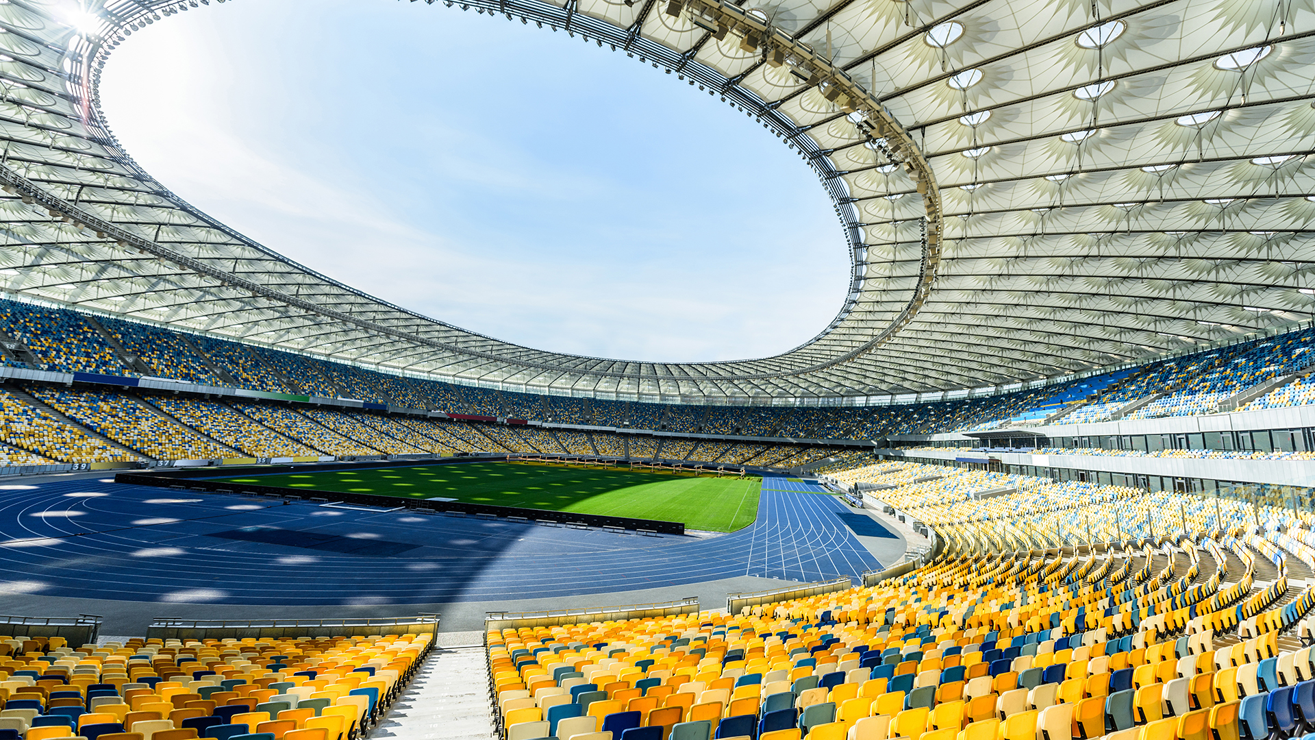 Stadium with seating and field