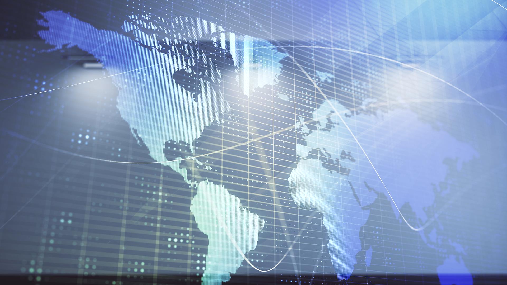 Digital map of the globe