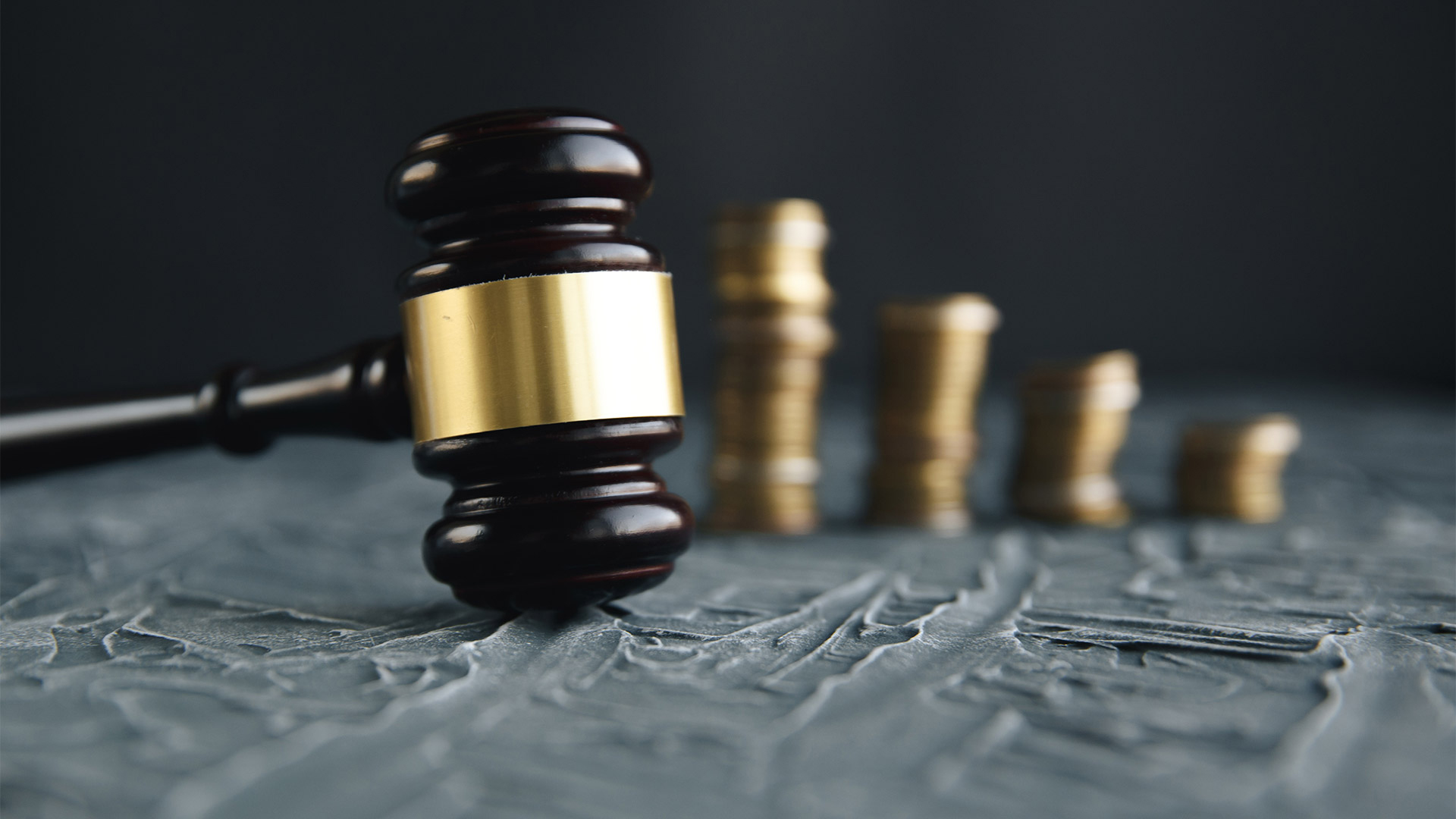 Gavel and coins