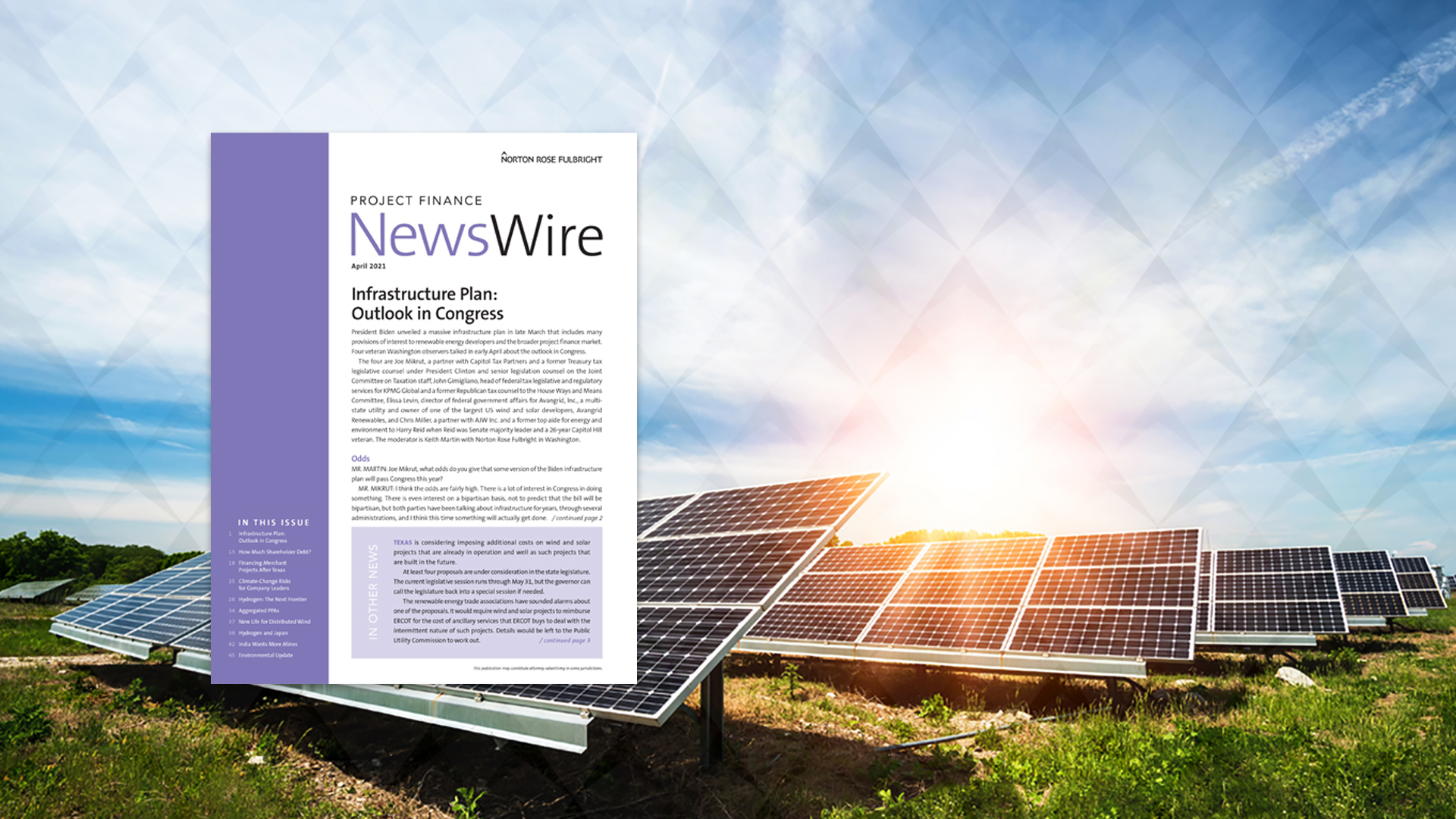 Project Finance NewsWire PDF cover with solar panel farm background