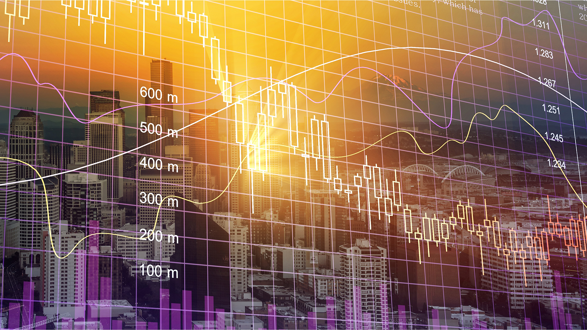 Purple and yellow financial graphs with city background