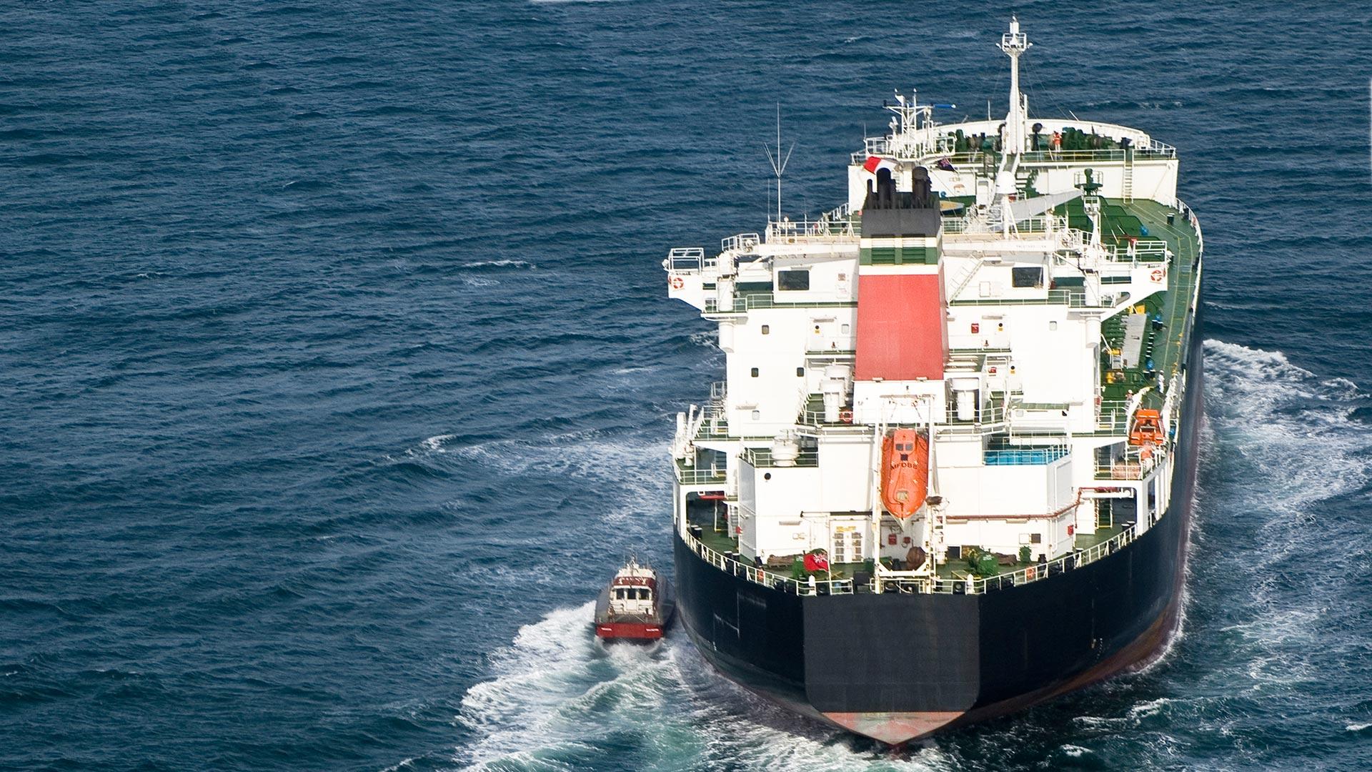 Tanker and tugboat