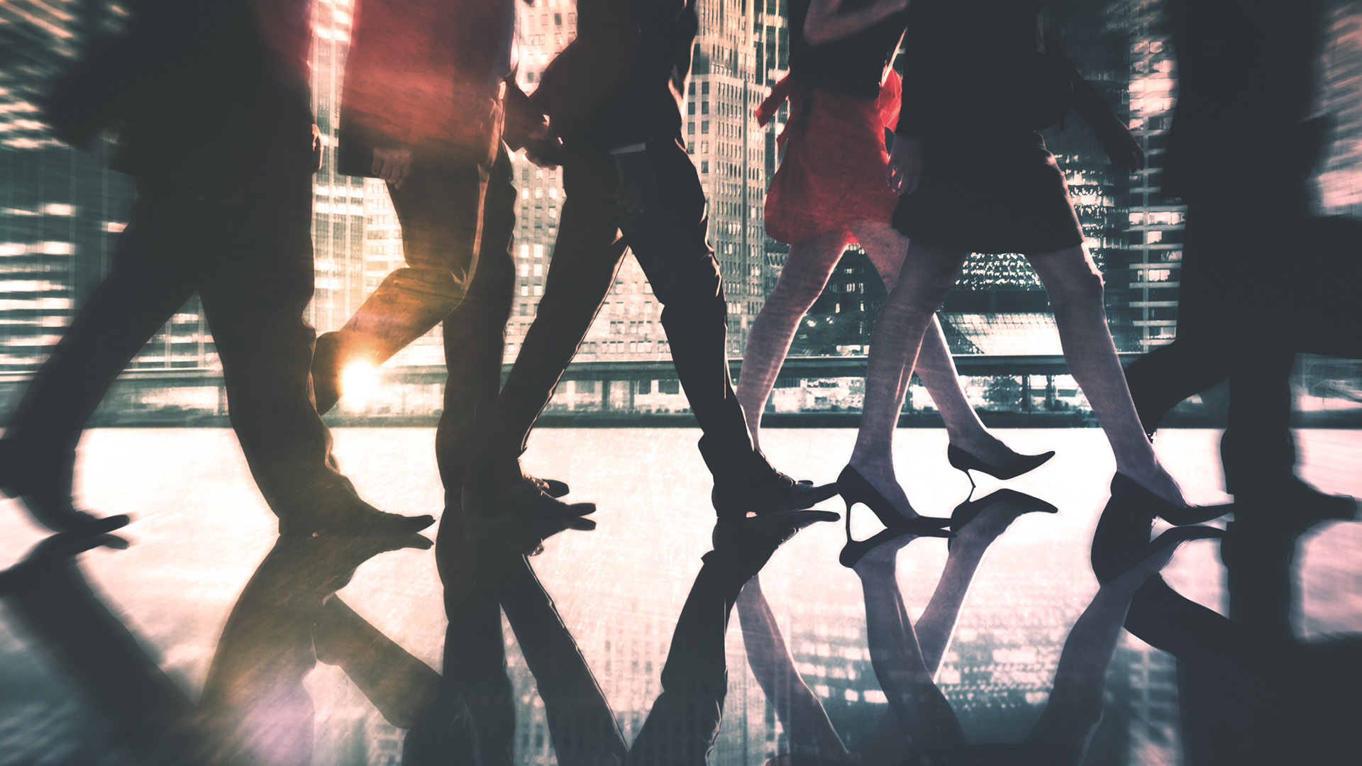 Group of people walking in-stride