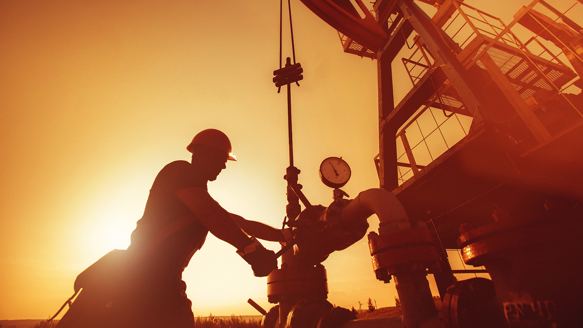 Worker on oil rig